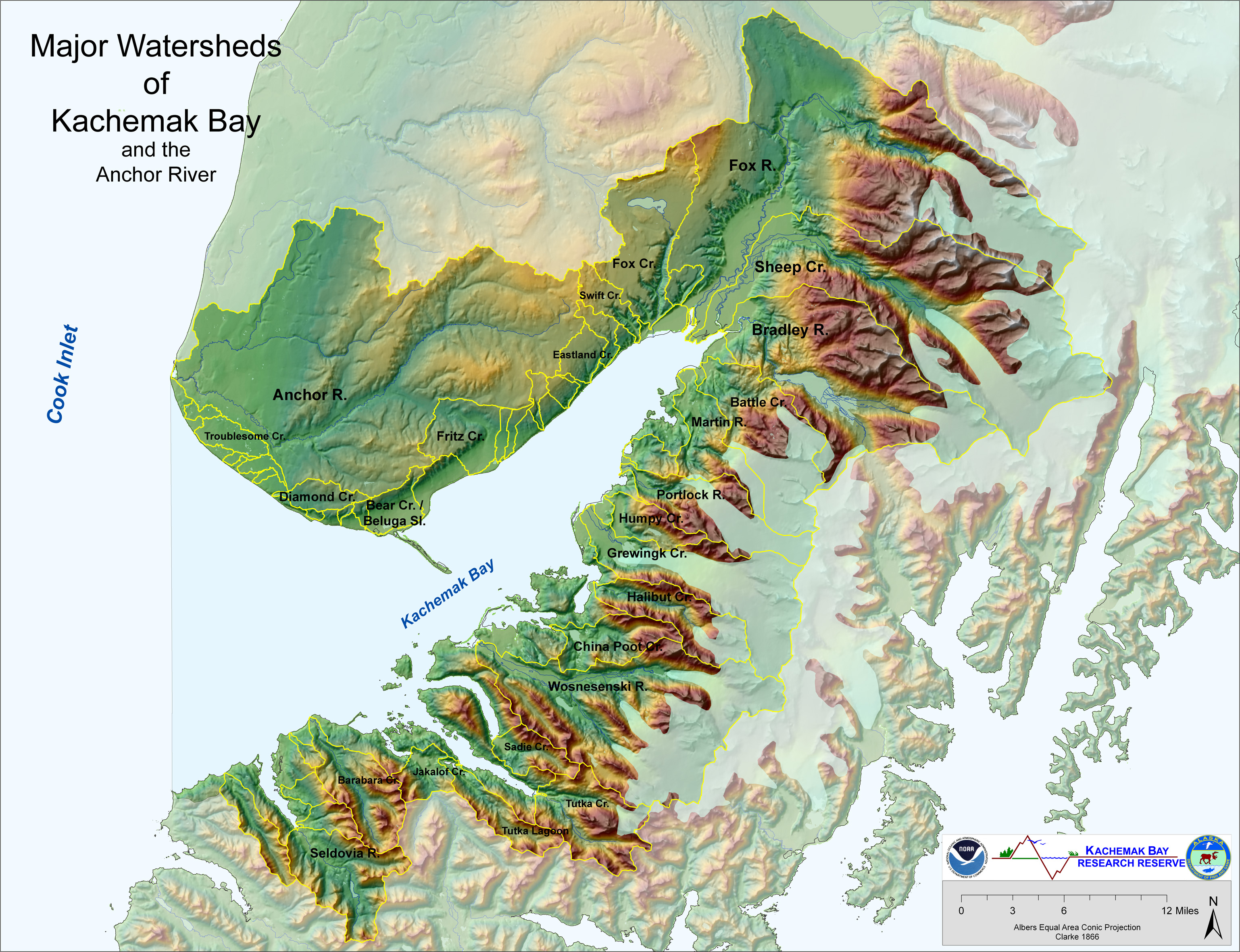 Map Of Major Watersheds Of Kachemak Bay And Anchor River Kbnerr